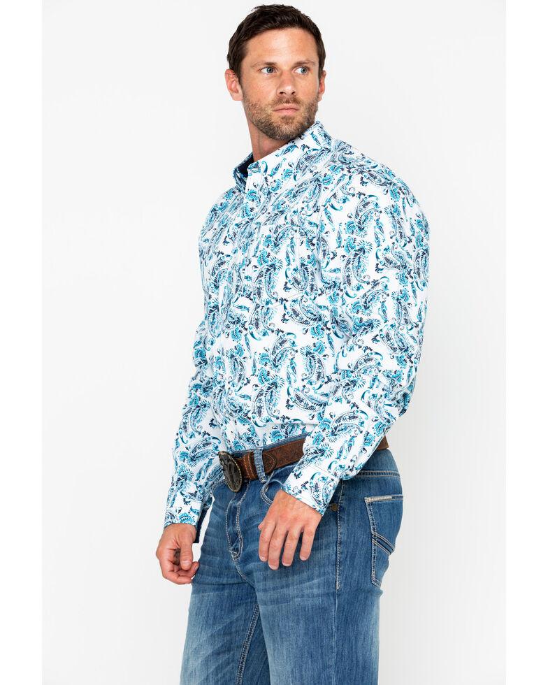 Cody James Core Men's Peacock Paisley Long Sleeve Western Shirt, White, hi-res