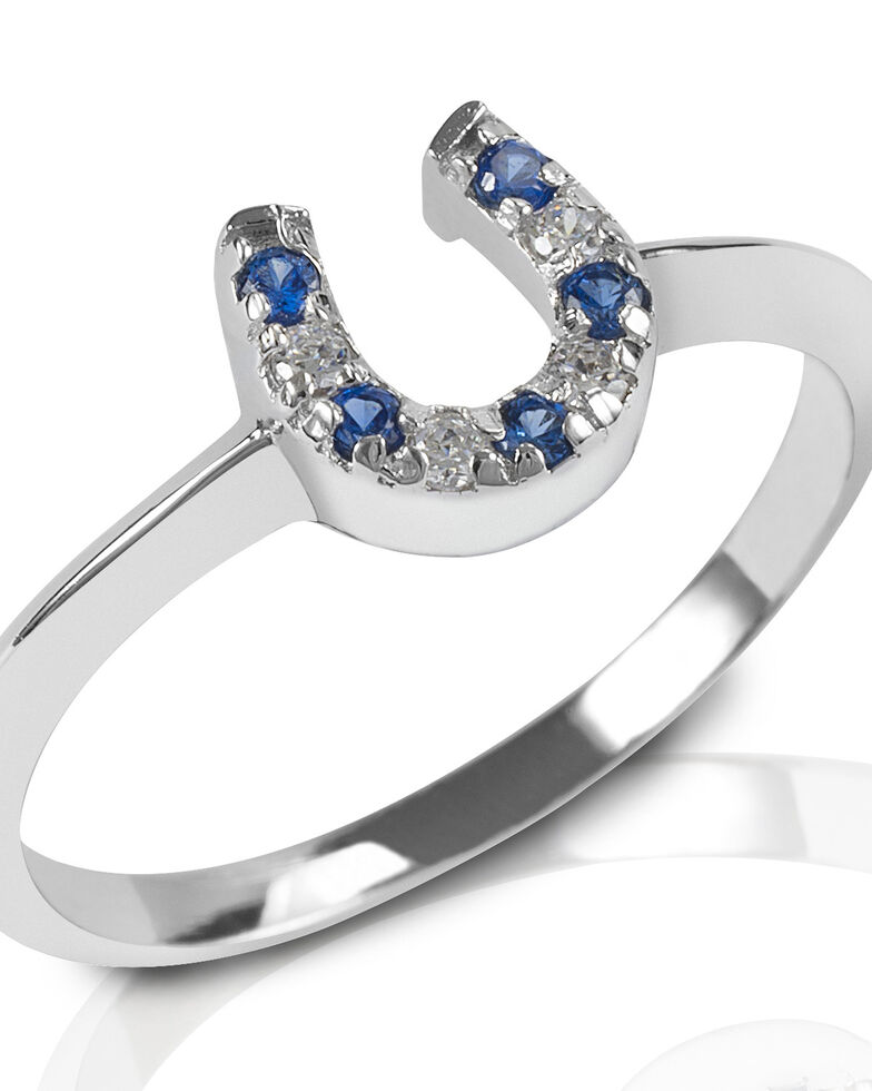 Kelly Herd Women's Blue & Clear Horseshoe Ring, Silver, hi-res