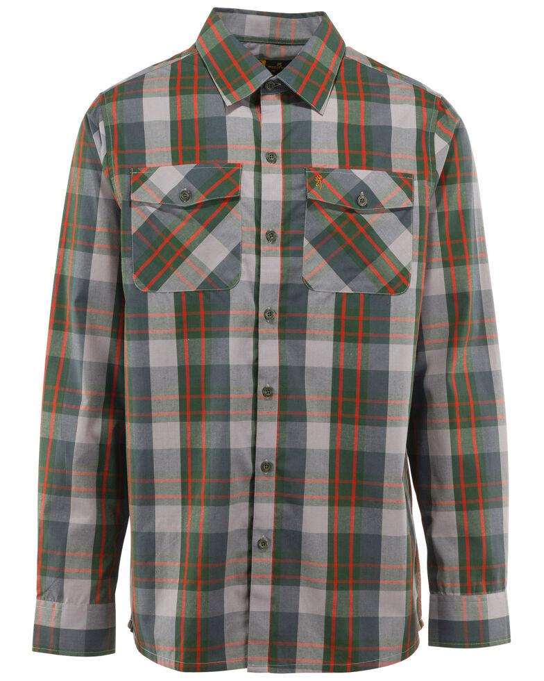 Browning Men's Powell Plaid Long Sleeve Western Shirt , Green, hi-res