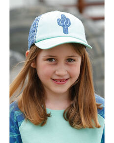 Cruel Girl Girls' Turquoise Embroidered Cactus Patch Ball Cap , Turquoise, hi-res