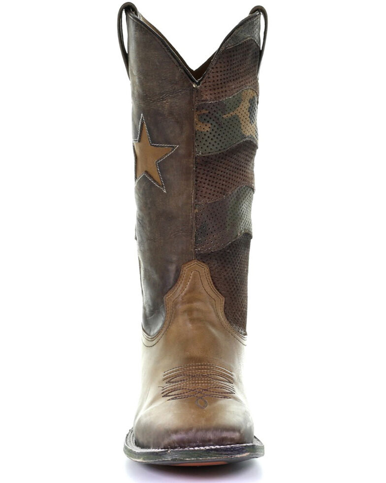Corral Men's Brown Star Inlay Western Boots - Square Toe, Brown, hi-res