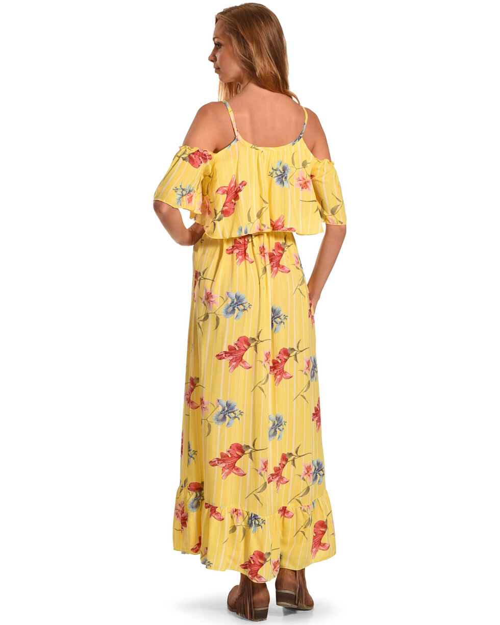 CES FEMME Women's Yellow Ruffled Cold Shoulder Dress , Yellow, hi-res