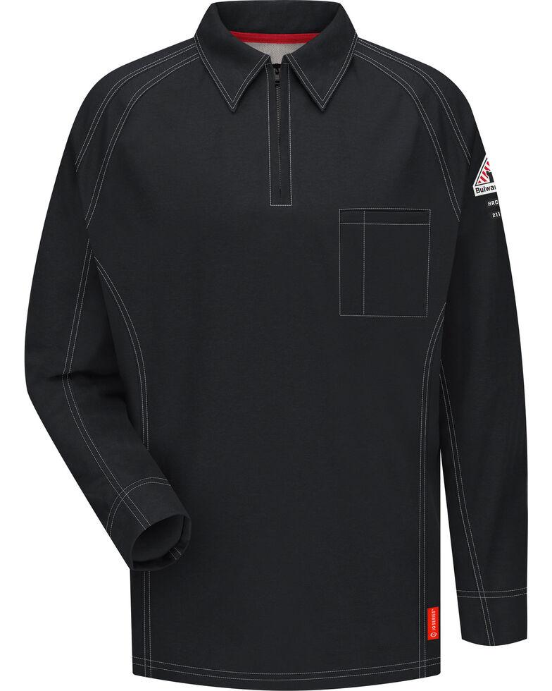 Bulwark Men's Black iQ Series Flame Resistant Long Sleeve Polo, , hi-res