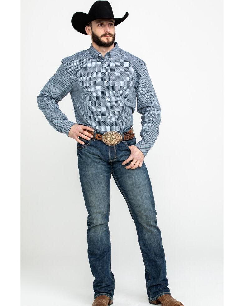 Cody James Core Men's Gem Geo Print Long Sleeve Western Shirt , Teal, hi-res