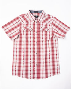 Cody James Boys' Rodeo Rider Dobby Plaid Short Sleeve Western Shirt , Red, hi-res