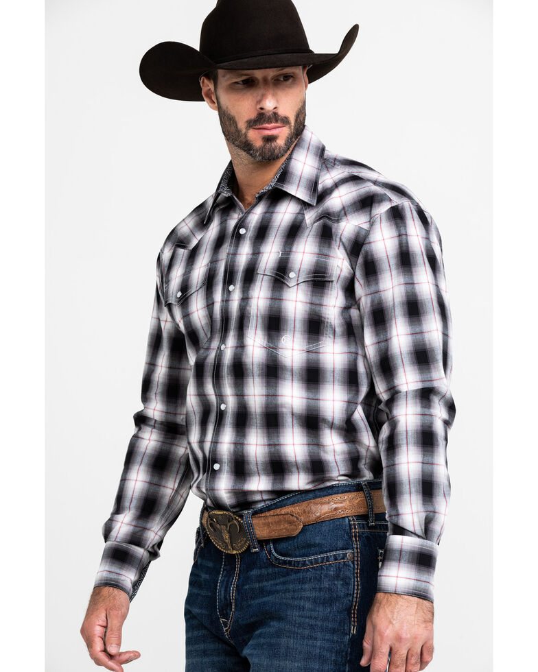 Roper Men's Vintage Large Plaid Long Sleeve Western Shirt , Black, hi-res