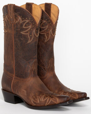 Shyanne® Women's Stud & Embroidered Western Boots, Brown, hi-res