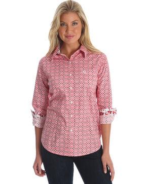 George Strait by Wrangler Women's Peach Large Medallion Print Long Sleeve Western Shirt , Multi, hi-res