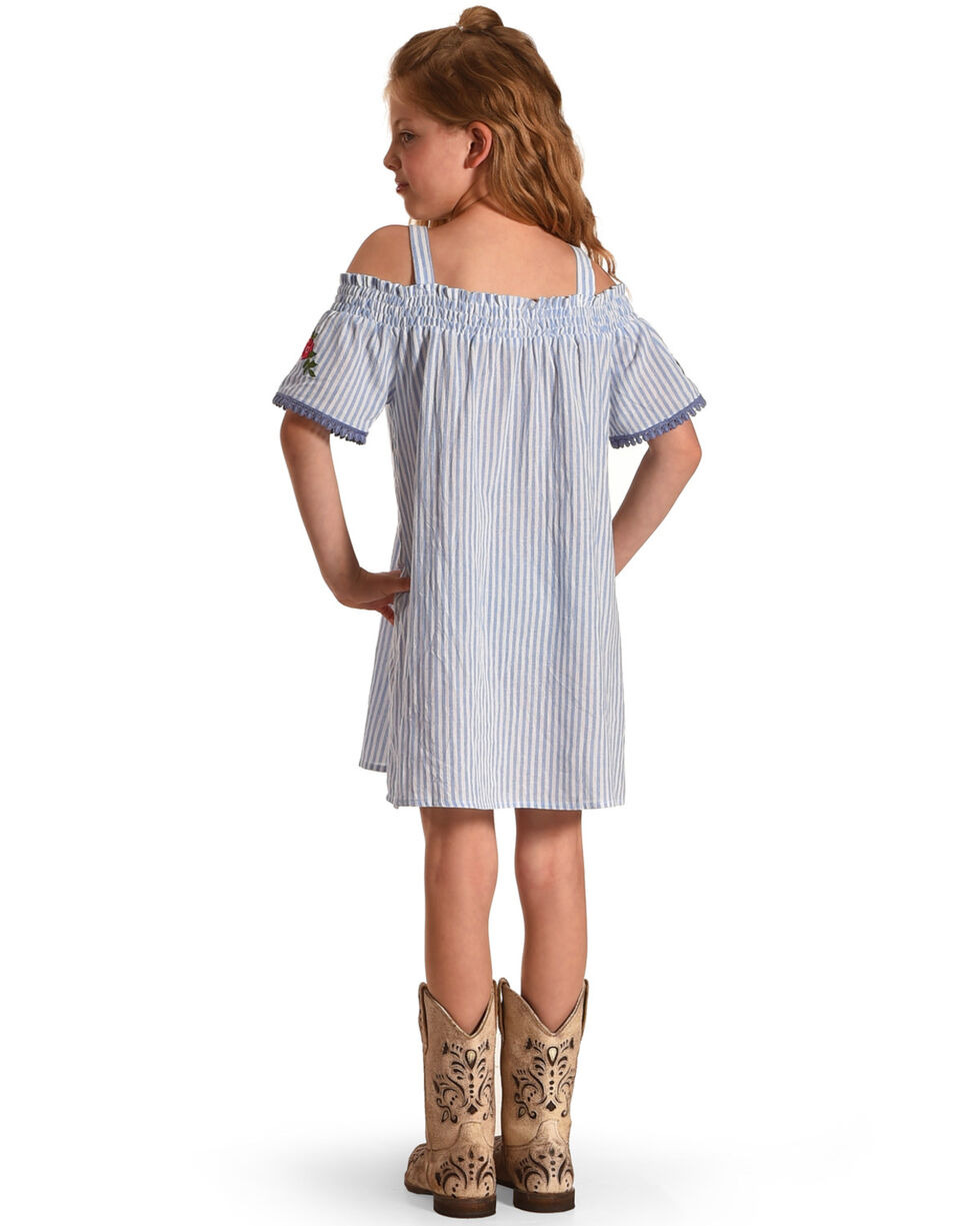 Idol Mind Girls' Striped Off The Shoulder Shirred Dress, Blue, hi-res