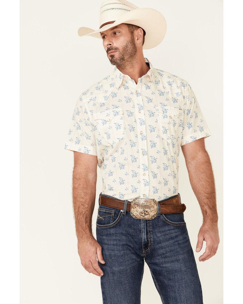 Tin Haul Men's Wallpaper Floral Print Short Sleeve Snap Western Shirt , White, hi-res
