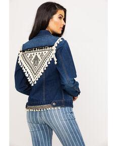 Rock & Roll Cowgirl Women's Aztec Embroidered Tassel Denim Jacket, Blue, hi-res