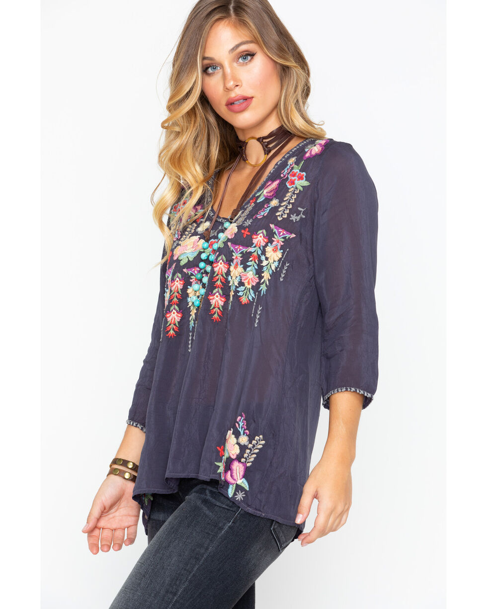Johnny Was Women's Nixie Blouse , Charcoal, hi-res