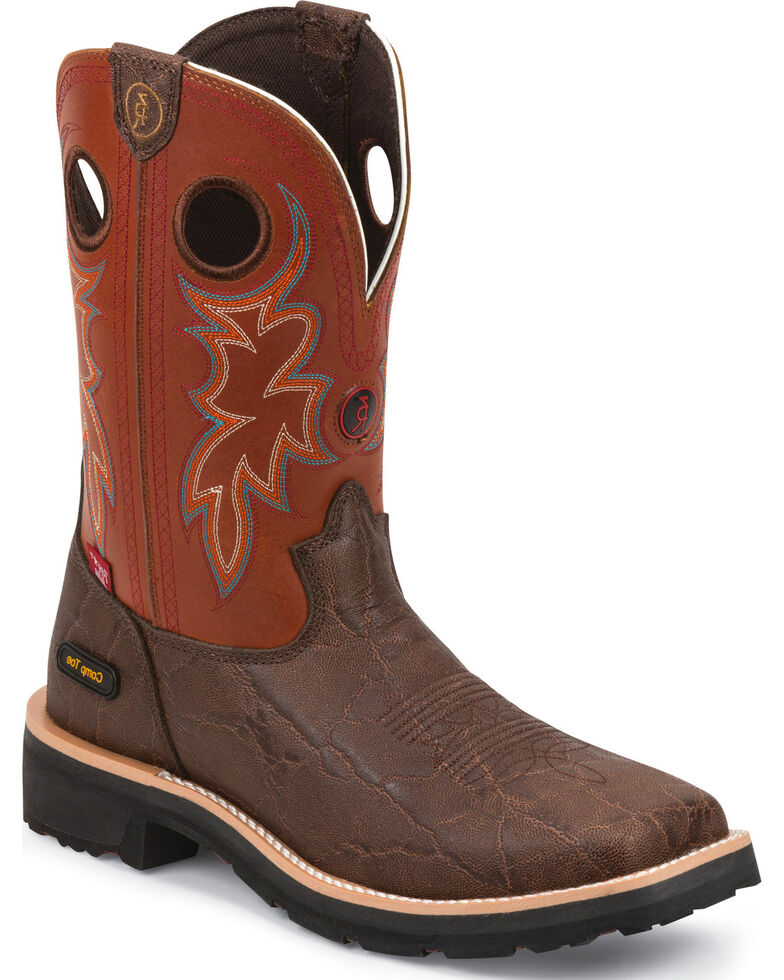 Tony Lama Men's 3R Comp Toe Work Boots, Walnut, hi-res