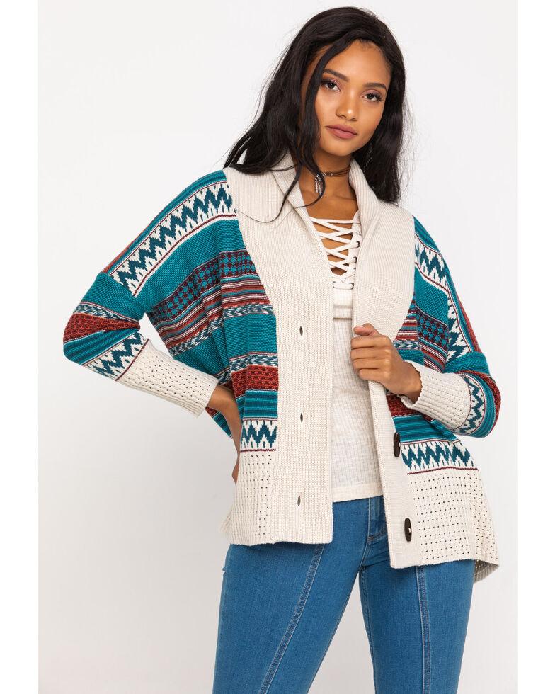 Shyanne Women's Aztec Stripe Sweater Cardigan, Teal, hi-res