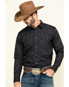 Cody James Men's Mesa Ridge Aztec Print Long Sleeve Western Shirt , Black, hi-res