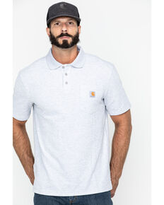 Carhartt Men's Contractor's Pocket Short Sleeve Polo Work Shirt - Big & Tall, Hthr Grey, hi-res