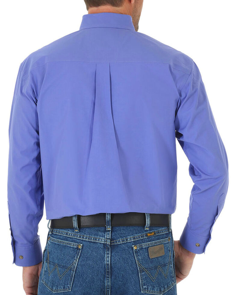 Wrangler Men's Solid Button Down Long Sleeve Shirt, Purple, hi-res
