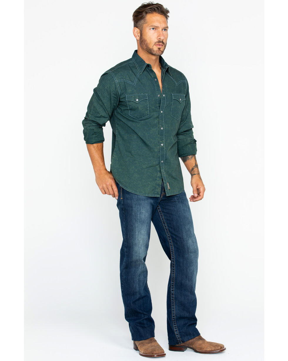 Wrangler Retro Men's Acid Wash Long Sleeve Western Shirt, Teal, hi-res