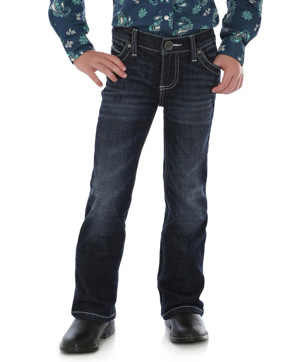 Wrangler Girls' Ultimate Riding Boot Cut Blue Jeans, Dark Blue, hi-res