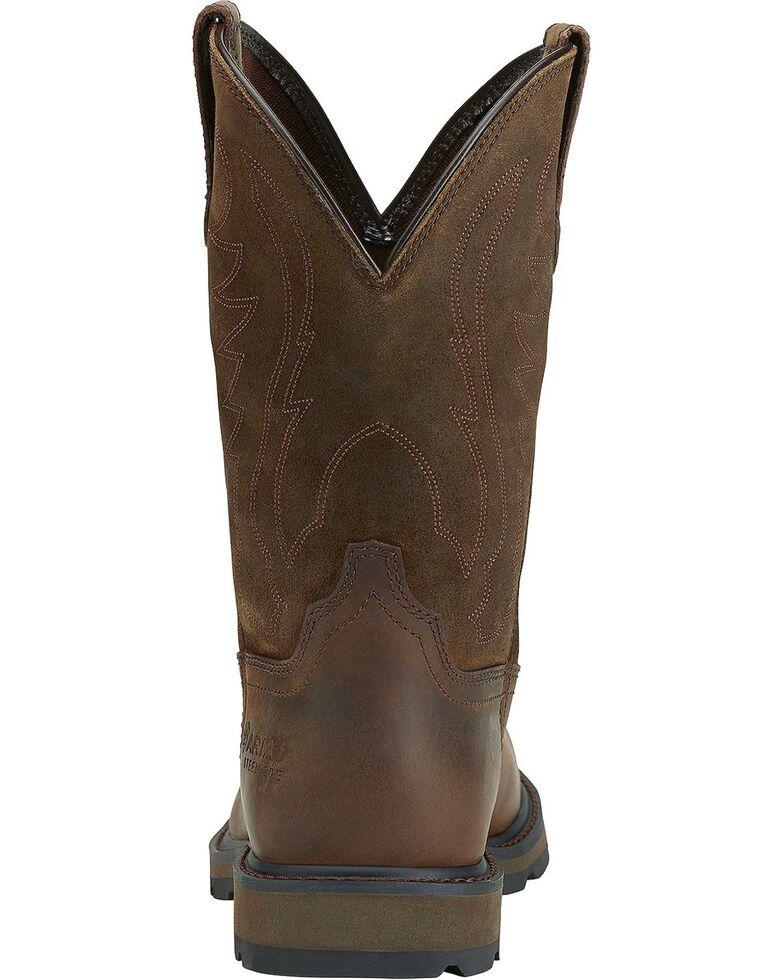 Ariat Groudbreaker Pull-On Work Boots - Steel Toe, Brown, hi-res
