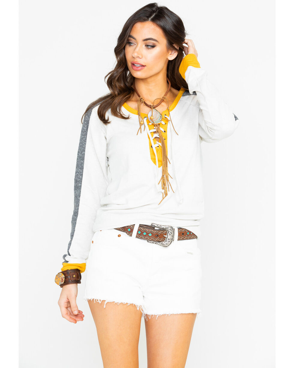Rock & Roll Cowgirl Women's Yellow & Black Block Pullover, Ivory, hi-res