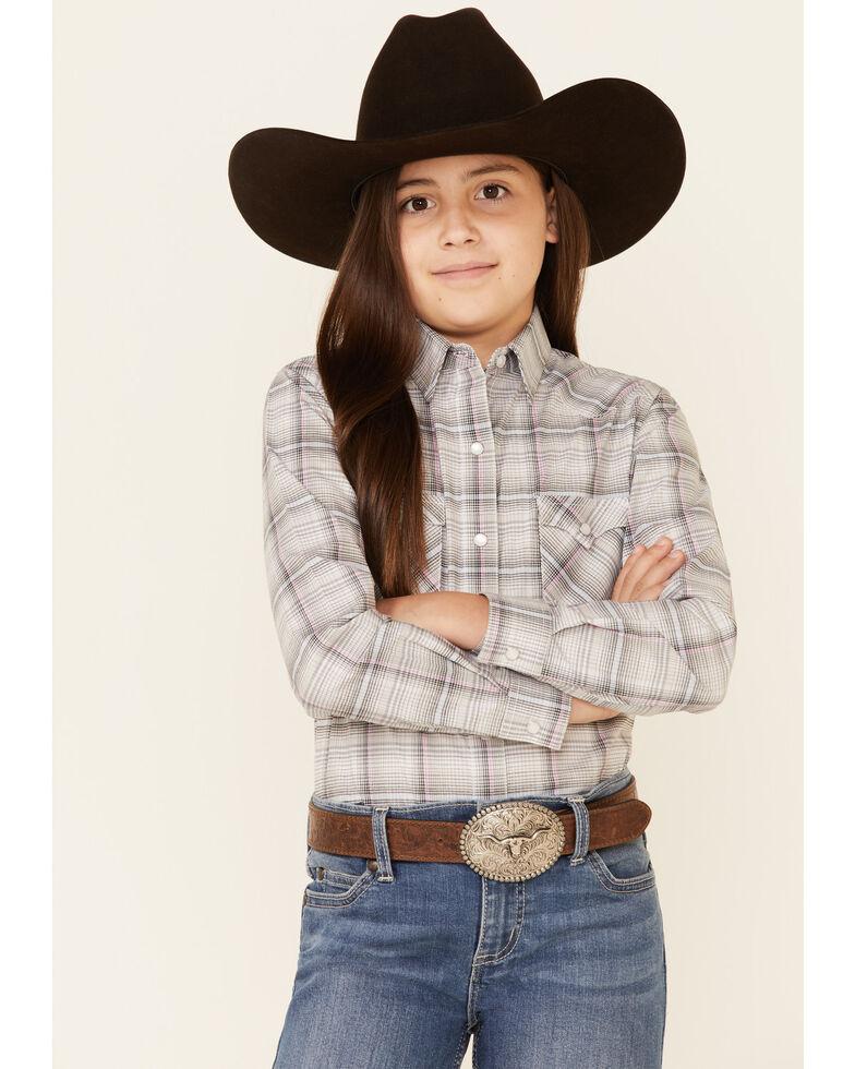 Rough Stock By Panhandle Girls' Light Grey Jacquard Plaid Long Sleeve Western Shirt , Light Grey, hi-res
