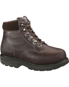 Wolverine Men's Cannonsburg Steel Toe EH Internal Met Guard Work Boots, Brown, hi-res