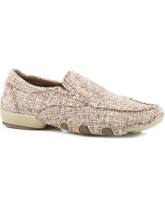 Roper Women's Pink Liza Tweed Fabric Driving Mocs , Pink, hi-res