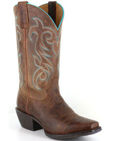 Shyanne Women's Xero Gravity Embroidered Performance Boots - Square Toe, Brown, hi-res