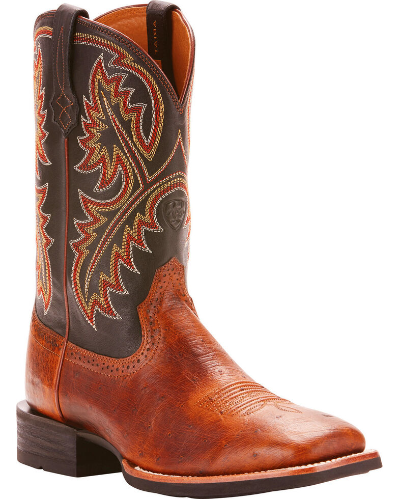 9bc91fe6f98 Ariat Men's Quickdraw Smooth Quill Ostrich Cowboy Boots - Square Toe