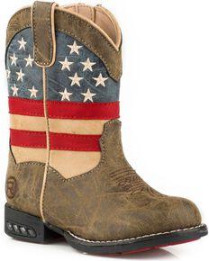 Roper Toddler Boys' Brown Patriot Western Boots - Round Toe, Brown, hi-res