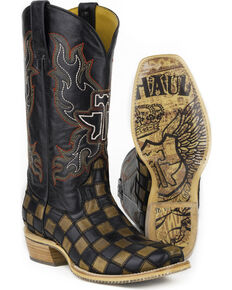 Tin Haul Men's Checkers Coat of Arms Cowboy Boots - Wide Square Toe, Black, hi-res