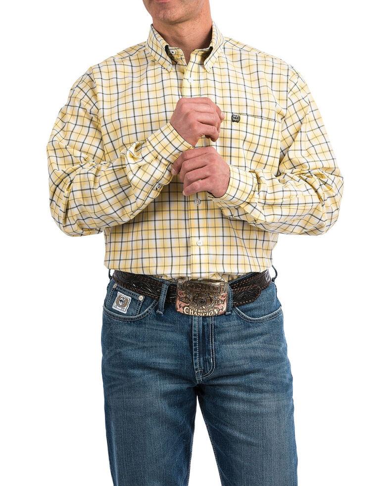 Cinch Men's Yellow Plaid Long Sleeve Western Shirt , Yellow, hi-res