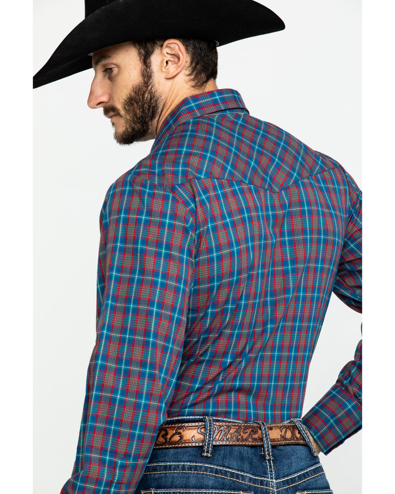 Roper Men's Classic Multi Plaid Snap Woven Long Sleeve Western Shirt , Blue, hi-res