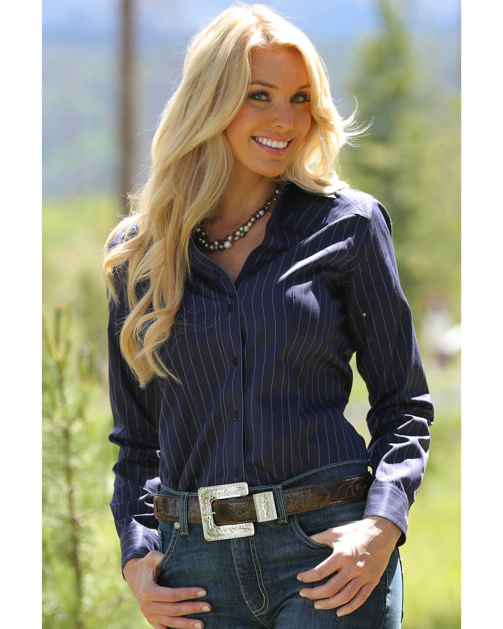 Miller Ranch Women's Navy Pinstripe Dress Shirt, Navy, hi-res