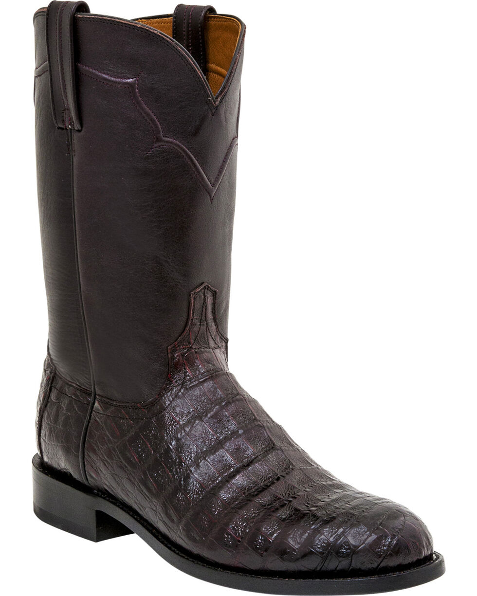 Lucchese Men's Sienna Ultra Caiman Belly Roper Boots, Black Cherry, hi-res