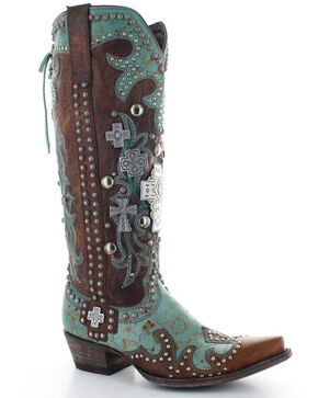 Old Gringo Double D Ranch Ammunition Turquoise Cowgirl Boots - Snip Toe, Turquoise, hi-res
