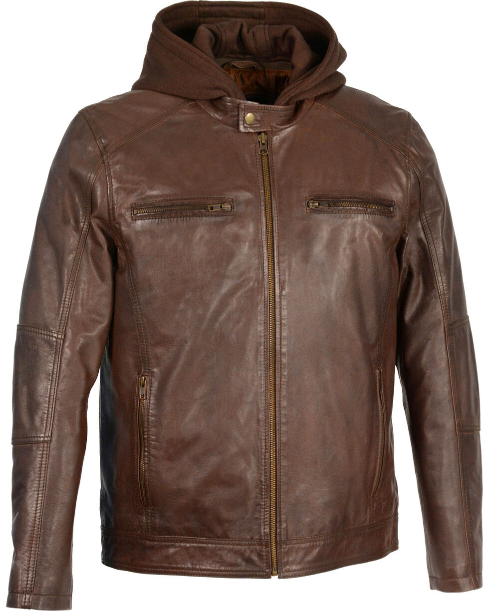 Milwaukee Leather Men's Snap Collar Leather Moto Jacket w/ Removable Hood , Brown, hi-res