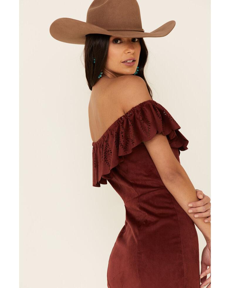 Shyanne Women's Off-Shoulder Faux Suede Dress, Chocolate, hi-res