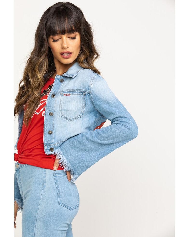 Bohemian Cowboy Women's Light Wash Nashville Back Patch Bell Sleeve Denim Jacket, Blue, hi-res