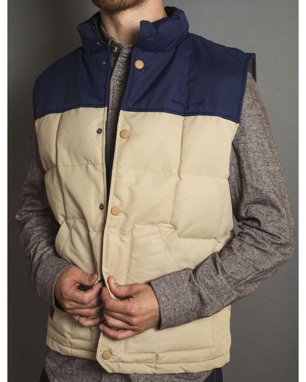 Kimes Ranch Men's Colt Two Tone Puffer Vest, Tan, hi-res