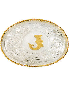 Montana Silversmiths Initial J Western Buckle, Silver, hi-res