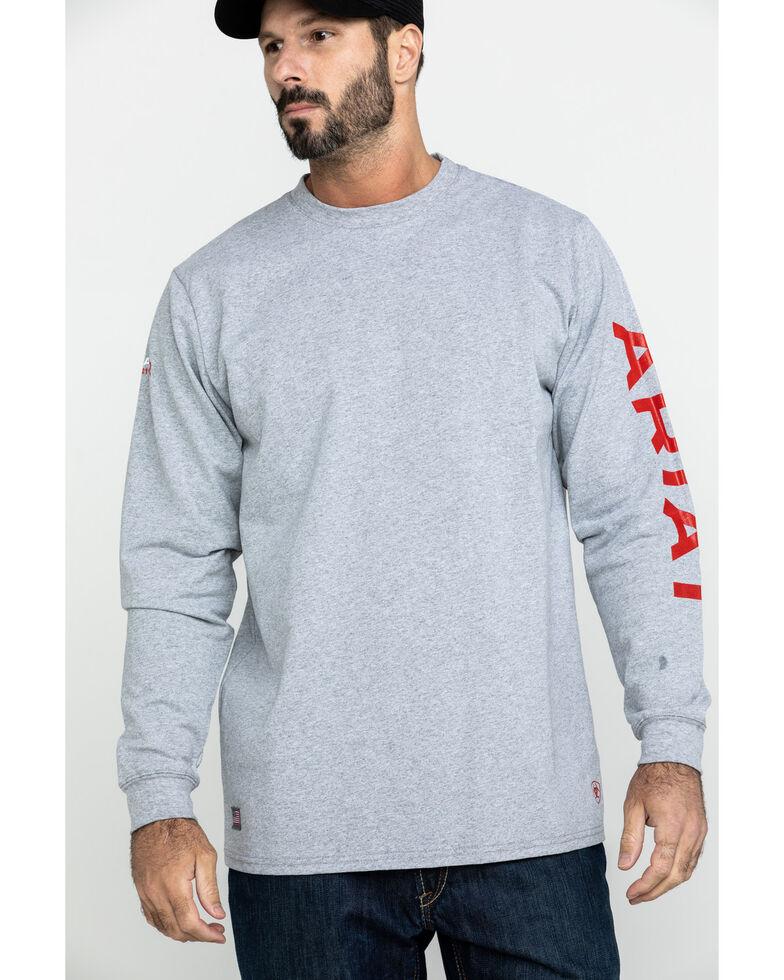 Ariat Men's FR Flame Logo Long Sleeve Work Shirt - Big , Heather Grey, hi-res