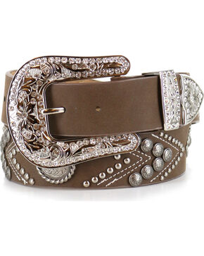 Angel Ranch Women's Brown Fashion Belt, Brown, hi-res