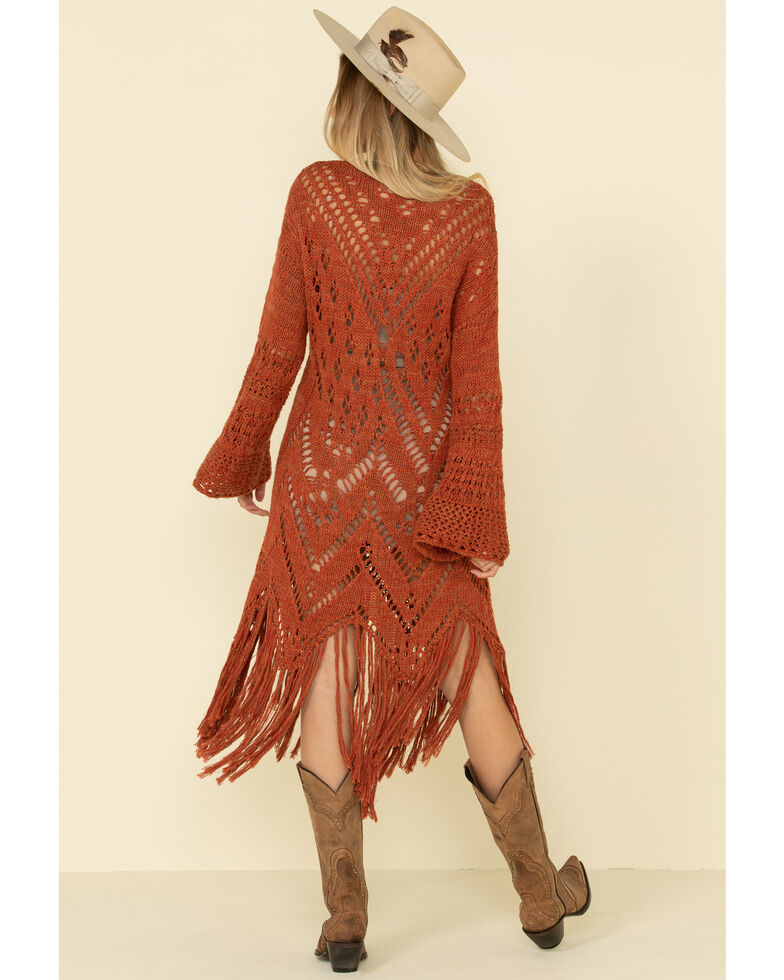 Free People Women's Rust Constellation Fringe Dress, , hi-res