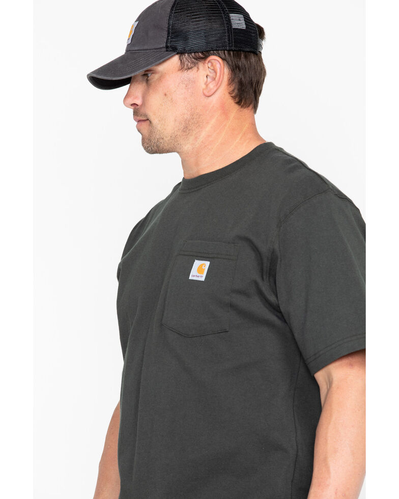 Carhartt Men's Solid Short Sleeve Pocket Work T-Shirt - Big & Tall, Bark, hi-res