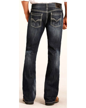 Rock & Roll Cowboy Men's Dark Wash Pistol Boot Cut Jeans, Indigo, hi-res