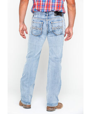 Rock & Roll Cowboy Men's Abstract Reflex Pistol Straight Jeans , Blue, hi-res