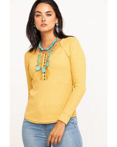 Miss Me Women's Mustard Lace Henley Top, Dark Yellow, hi-res