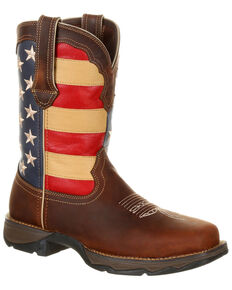 Durango Women's Lady Rebel Patriotic Flag Work Boots - Steel Toe, Brown, hi-res